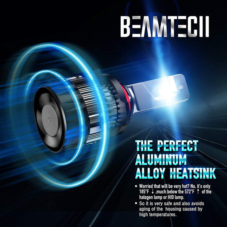 BEAMTECH 9012 LED Bulb,30mm Heatsink Base CSP Chips 10000 Lumens HIR2 6500K Xenon White Extremely Super Bright Conversion Kit Small Size