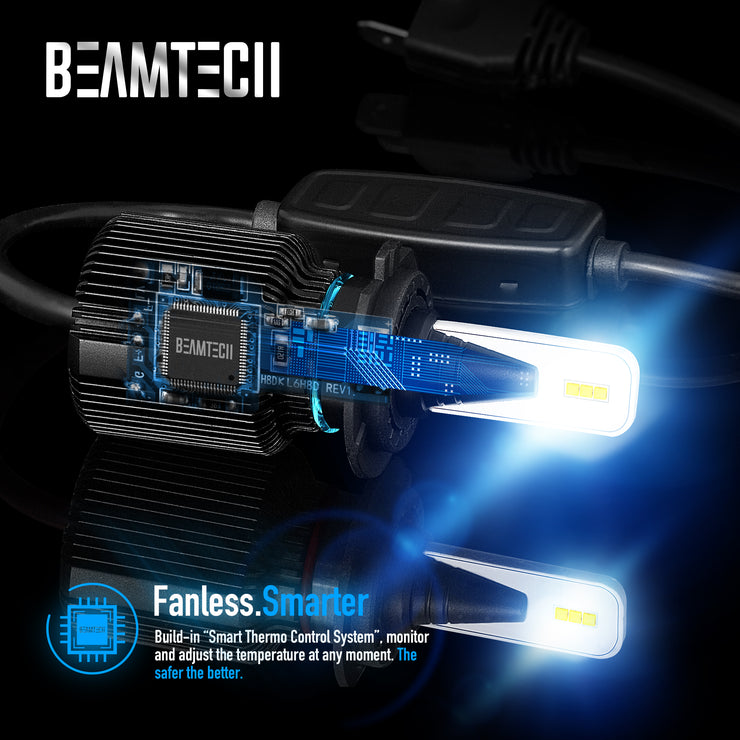 BEAMTECH H13 LED Bulb Fanless CSP Y19 Chips 8000 Lumens 6500K Xenon White  Extremely Bright Conversion Kit