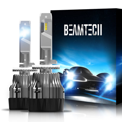 BEAMTECH 880 LED Bulb 30mm Heatsink Base CSP Chips 10000 Lumens Hi/Lo 6500K Xenon White Extremely Super Bright Conversion Kit of 2