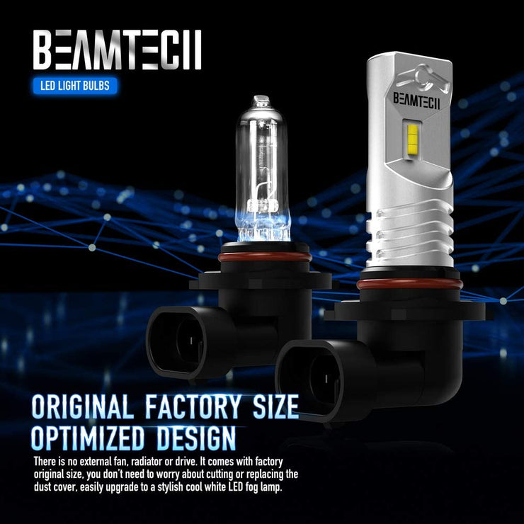 BEAMTECH 9006 Led Fog Light Bulb CSP Chips 6500K 800 Lumens Xenon White Extremely Super Bright