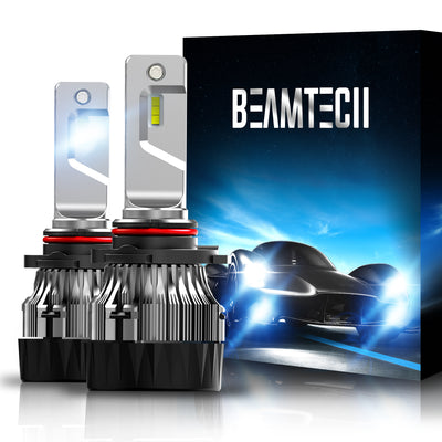 BEAMTECH 9005 LED Bulb 30mm Heatsink Base CSP Chips 10000 Lumens Hi/Lo 6500K Xenon White Extremely Super Bright Conversion Kit of 2
