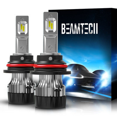 BEAMTECH 9007 LED Bulb 30mm Heatsink Base CSP Chips 10000 Lumens Hi/Lo 6500K Xenon White Extremely Super Bright Conversion Kit of 2