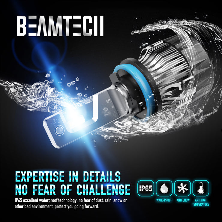 BEAMTECH H11 LED Bulb 30mm Heatsink Base CSP Chips 10000 Lumens Hi/Lo 6500K Xenon White Extremely Super Bright Conversion Kit of 2