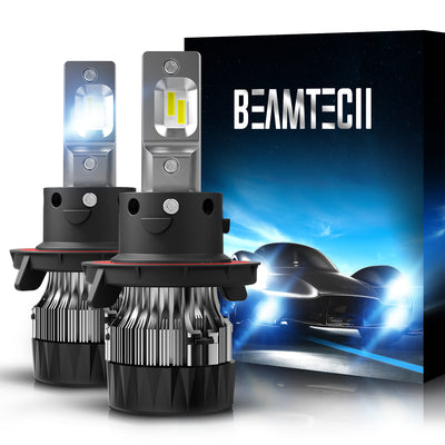 BEAMTECH H13 LED Bulbs 6500K 10000 Lumens Extremely Super Bright 9008 Hi/Lo 30mm Heatsink Base CSP Chips Conversion Kit,Xenon White