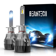 BEAMTECH H1 LED Bulb 30mm Heatsink Base CSP Chips 10000 Lumens Hi/Lo 6500K Xenon White Extremely Super Bright Conversion Kit of 2