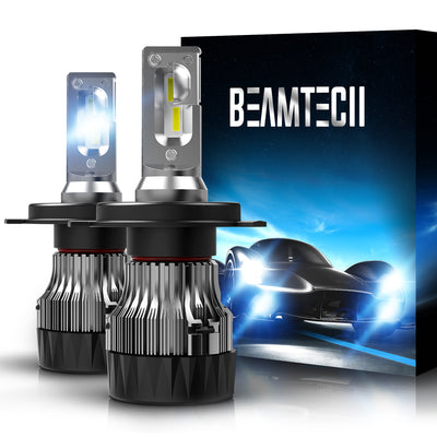 BEAMTECH H4 LED Bulbs 6500K 10000 Lumens Extremely Super Bright 9003 Hi/Lo 30mm Heatsink Base CSP Chips Conversion Kit Xenon White