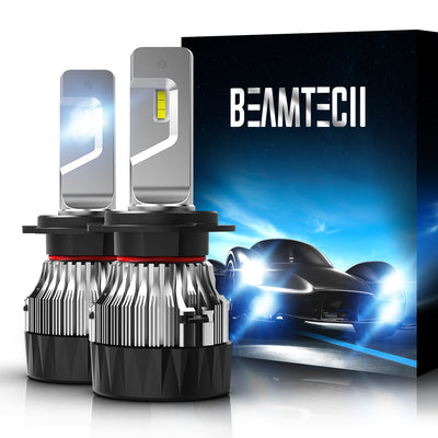 BEAMTECH H7 LED Bulb 30mm Heatsink Base CSP Chips 10000 Lumens Hi/Lo 6500K Xenon White Extremely Super Bright Conversion Kit of 2
