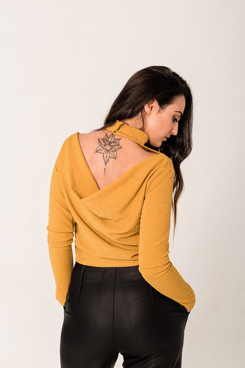 The Mustard Cowl Back Top