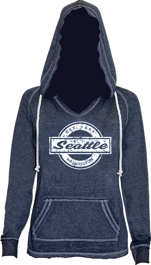 Junior Ladies Circle Block Hoodie - Navy