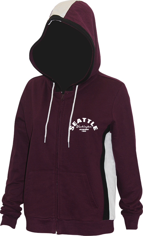 Junior Ladies Arch Chest Zip Up Hoodie - Plum