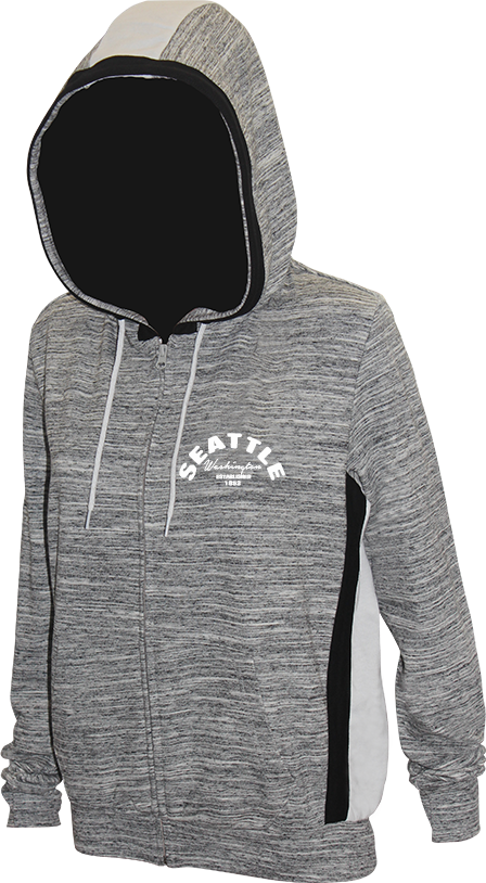 Junior Ladies Arch Chest Zip Up Hoodie - Grey