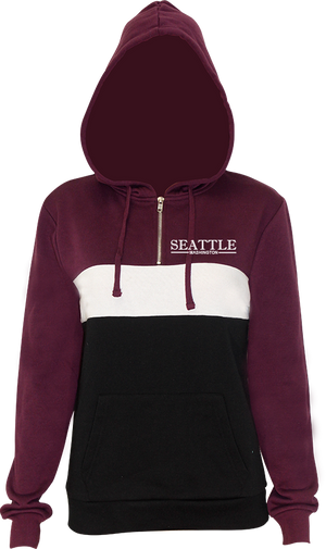 Junior Ladies Line Chest Quarter Zip Hoodie - Plum