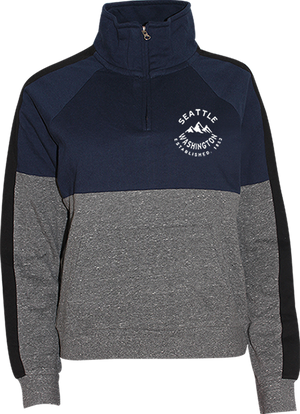 Junior Ladies Seattle Script Quarter Zip - Navy
