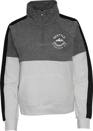 Junior Ladies Seattle Script Quarter Zip - Smoke