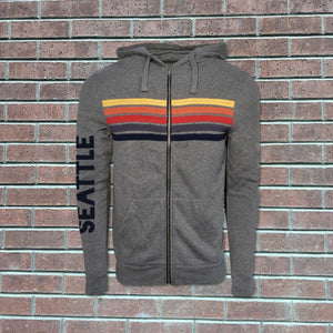 Happy Stripe Zip Up Hoodie - Grey