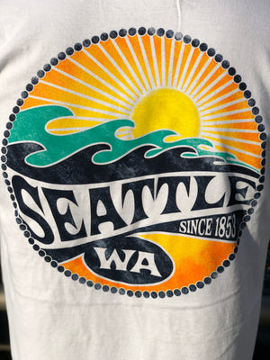 Seattle Wave Sunset Mojave Since 1855 T-Shirt - White