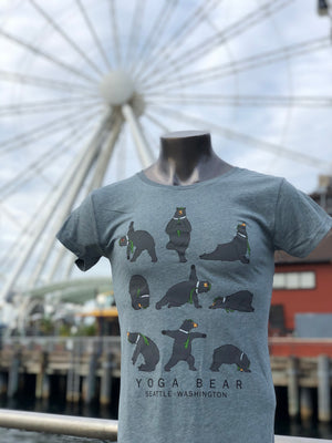 Ladies Yoga Bear T-Shirt - Grey