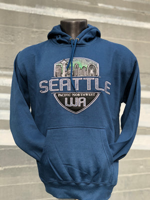 Comfy Seattle Washington Skyline Giant Shield Hoodie - Harbor Blue