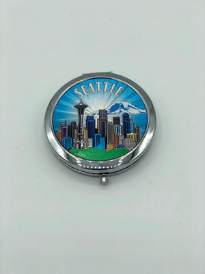 Seattle Washington Skyline Sheen Compact Make-Up Cosmetic Mirror