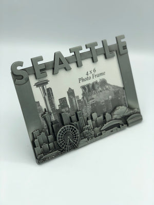 Seattle Washington Skyline Pewter Picture Frame