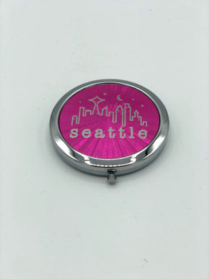 Seattle Washington Pink Skyline Compact Make-Up Cosmetic Mirror