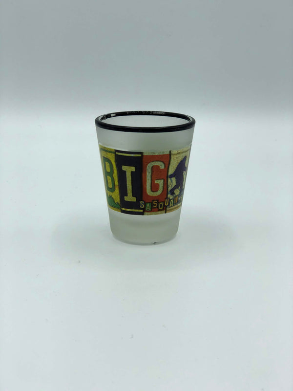 Bigfoot License Plate Clouded Shot Glass