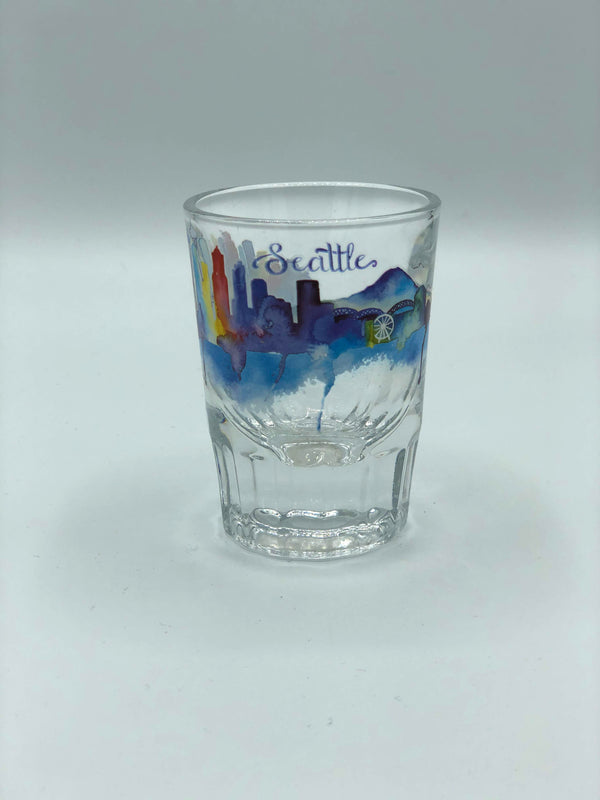 Seattle Skyline Watercolor Heavy Shot Glass