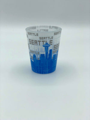 Light Blue Skyline Shot Glass