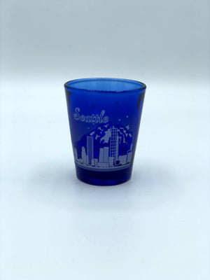Blue Seattle Skyline Shot Glass