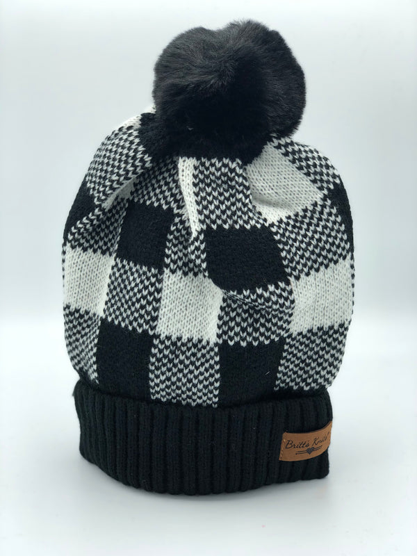 Buffalo Plaid Pom Hat - Black