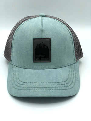 Powder Blue Suede Seattle Snapback Trucker Hat