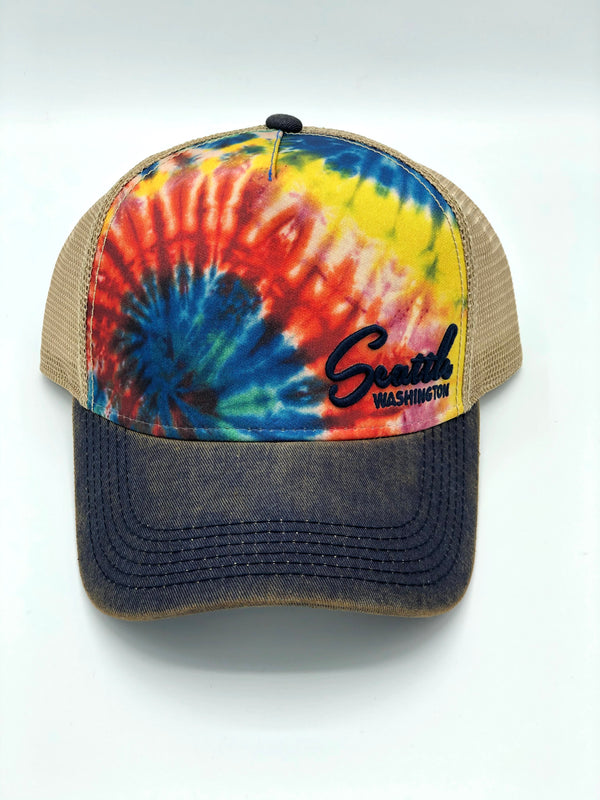 Seattle Rainbow Tie Dye Snapback Trucker Hat
