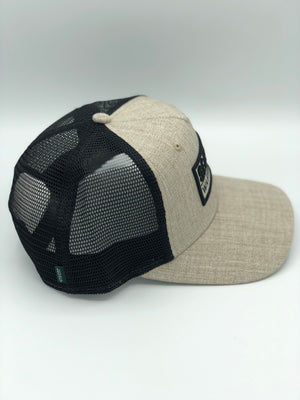 Split Box Tan Snapback Trucker Hat