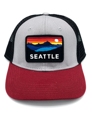 Seattle Horizon Burgundy Snapback Trucker Hat