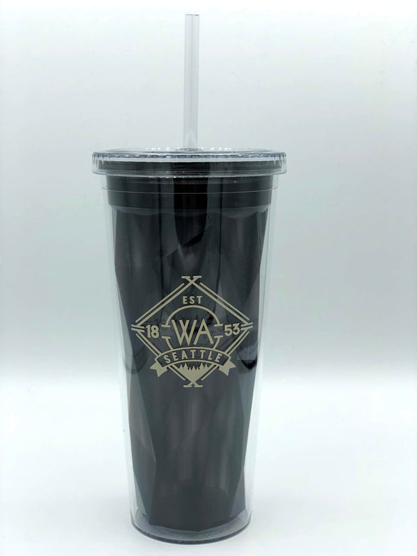 Cross Cultural Double Wall Plastic Tumbler and Straw