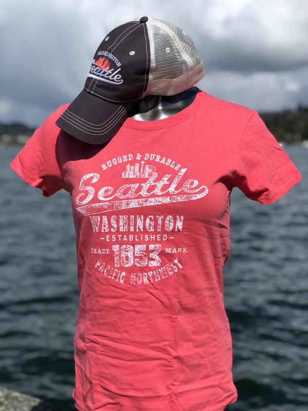 Rugged Seattle Hat Shirt Combo - Coral/Charcoal