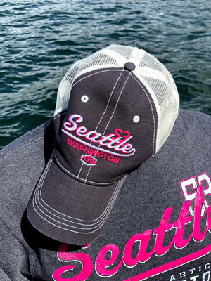 Classic Seattle Hat Shirt Combo - Charcoal/Pink