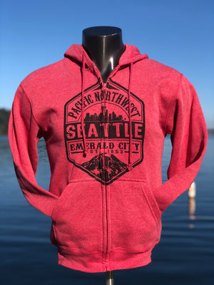 Middle Man Zip Up Hoodie - Heather Red