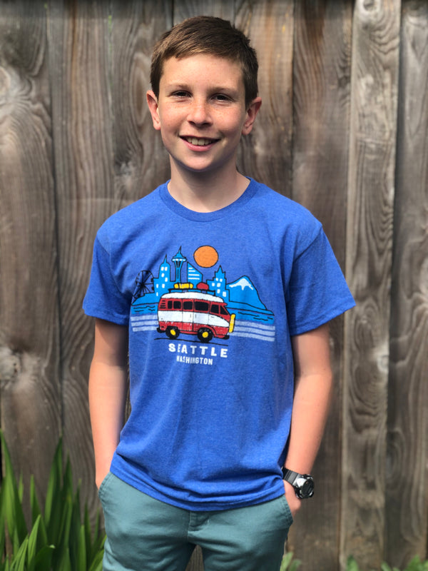 Youth Road Trip Seattle T-Shirt - Blue Heather