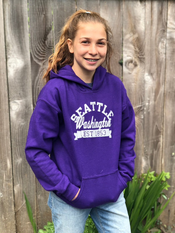 Youth Seattle 1853 Banner Hoodie - Purple