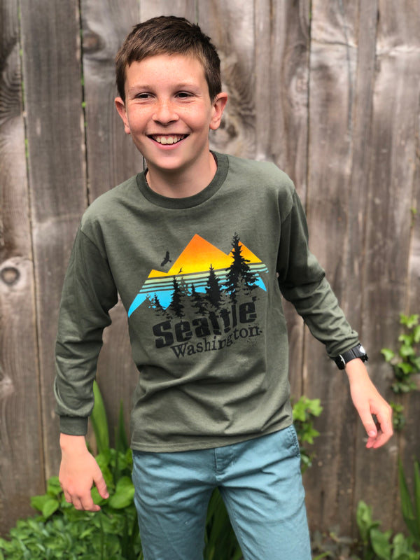 Youth Radiant Mountain Long Sleeve T-Shirt - Kelp