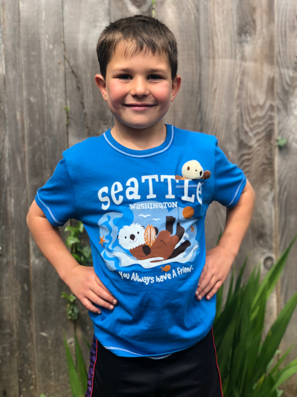 Youth Pocket Otter T-Shirt - Blue