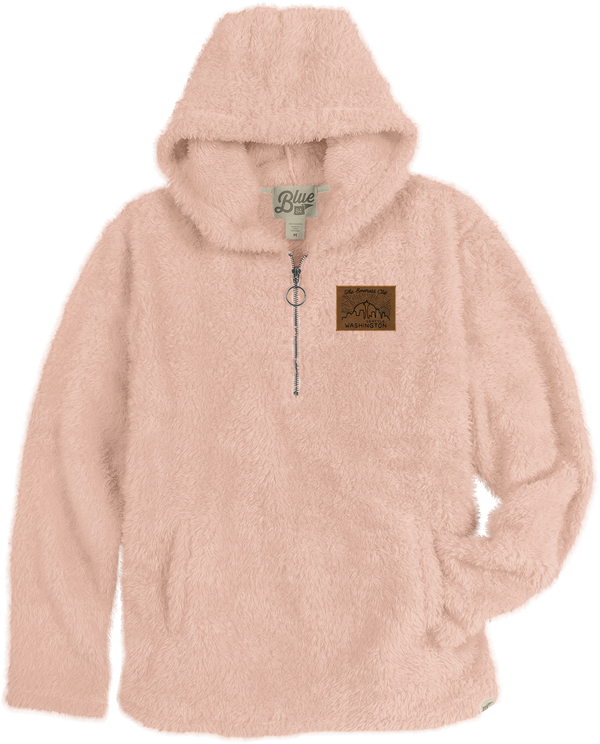 Ladies Carousel Sherpa Zip Up Hoodie - Pink