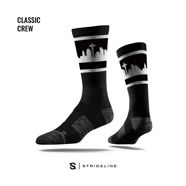 Seattle Black Retro Skyline Socks