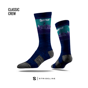 Teal Skyline Navy Socks
