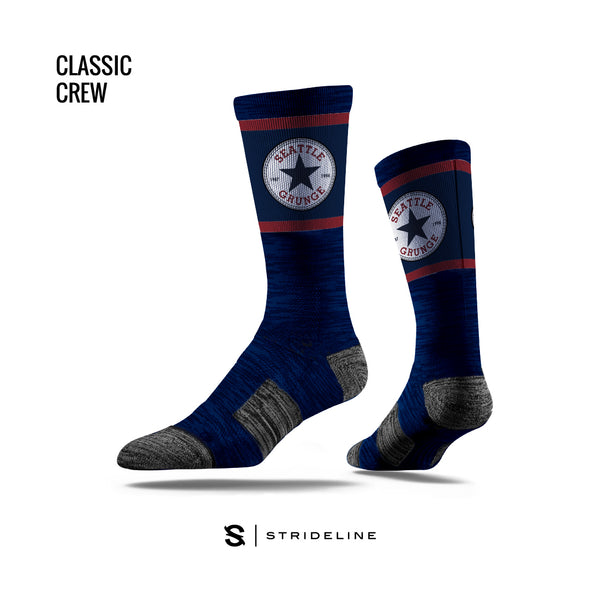 Seattle Navy Grunge Logo Socks