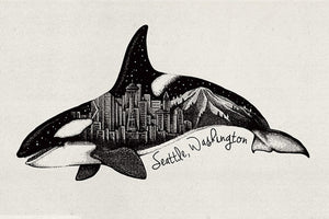 Orca & Seattle Skyline Magnet