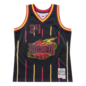 1996-97 Hakeem Olajuwon #34 Authentic Blackout NBA Jersey