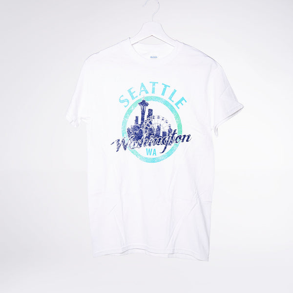 Circled Seattle Lights T-shirt - White