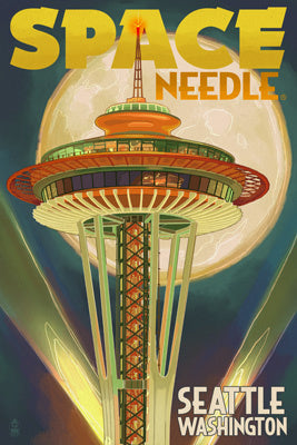 Space Needle & Full Moon Magnet